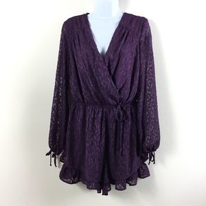XHILARATION PURPLE LONG SLEEVE BURNOUT ROMPER